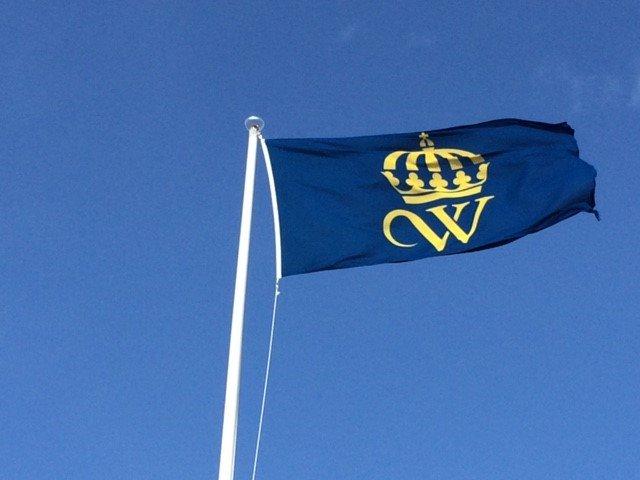 Wångens flagga blå med gult sigill i form av ett w och en krona