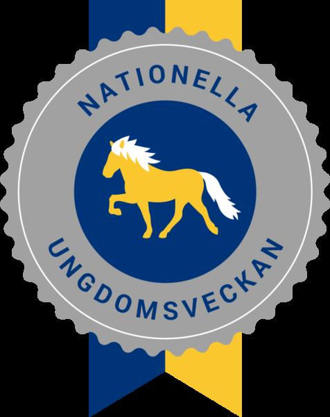 Illustration av ett emblem inspirerat av en prisrosett. Text Nationella Ungdomsveckan, blått och gult band och en gul tecknad islandshäst tecknad mot blå botten