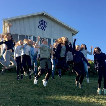 15 glada tjejer på en grön gräsmatta hoppar upp i luften