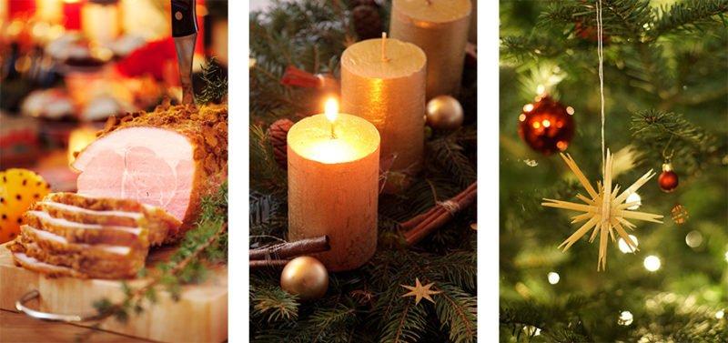 Julstämning i tre bilder. Skinka på julbord, ljusen är tända och dekorationerna hänger i granen