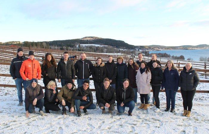 Deltagarna på proffstränarkursen står ute i snön framför hästhagar. Några står på knä framför de andra