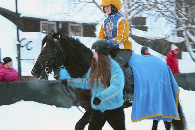 Svart kallblodstravare med ryttare och blått täcke. Bredvid går elev i blå jacka och leder hästen på snöig gata i Åre by