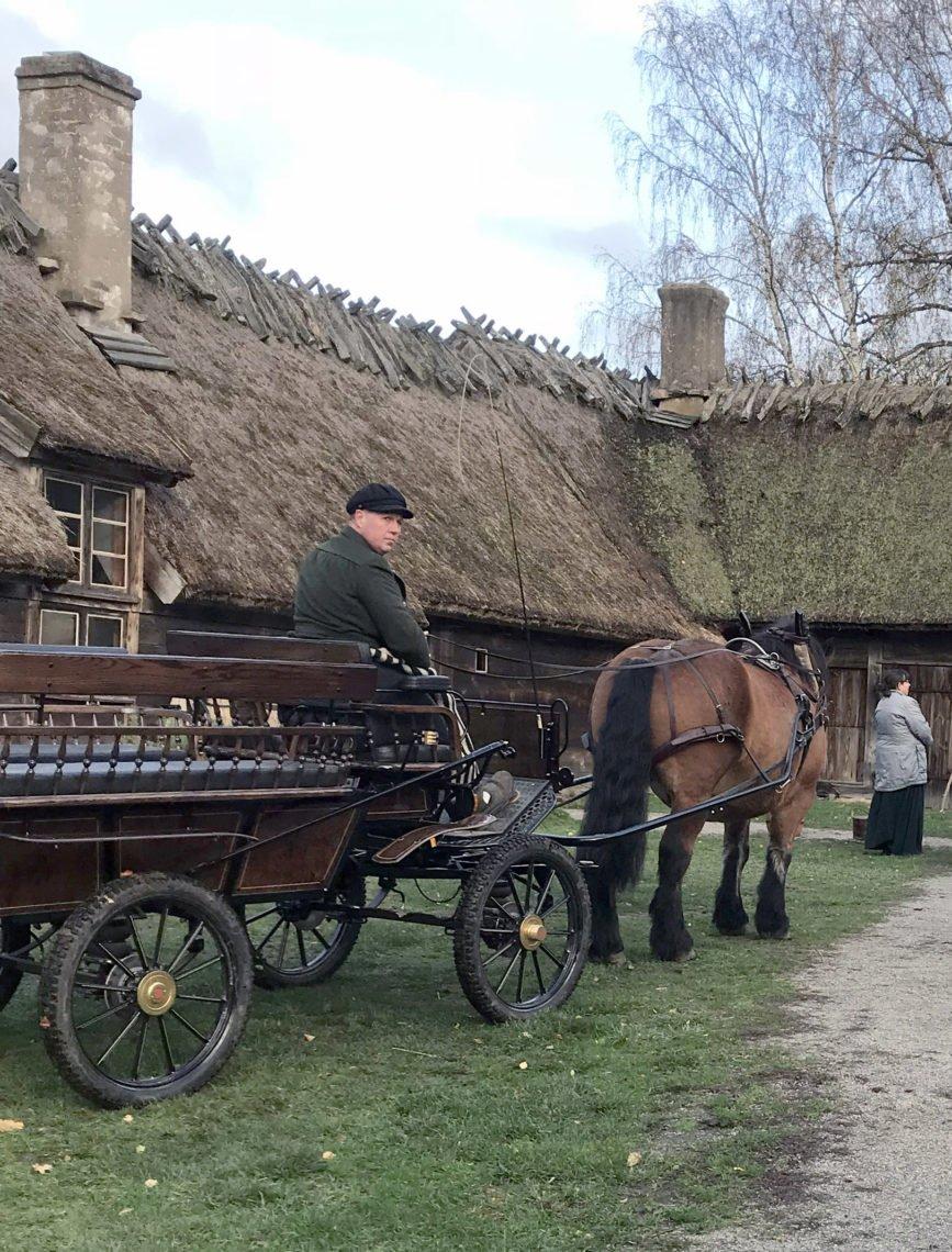 Sigvard på kuskbocken till en gammal fin skrindliknade vagn i bakgrunden syns hus med halmtak