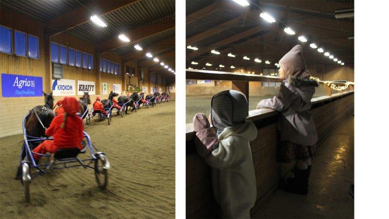 Elever i tomtekostymer kör travhästar i rad när de visar upp travkadriljen i ridhuset. Två barn står vid läktarstaketet och tittar på julshow