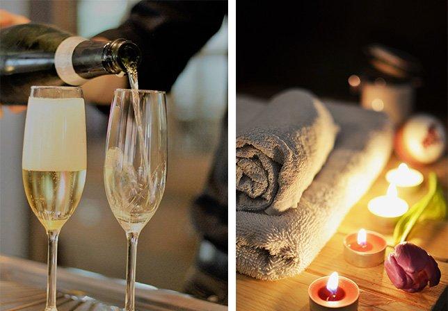 Hand håller i flaska och häller upp bubbel i två champagneglas förmedlar känslan inför en lyxhelg