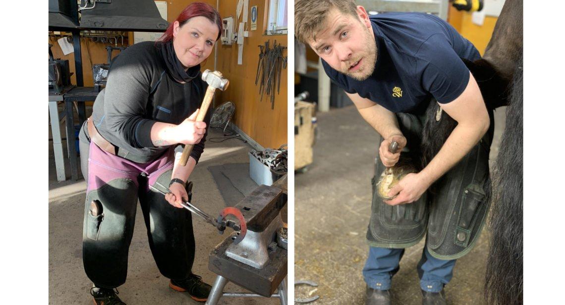 Två bilder. En föreställer en kvinna i smedjan med hammaren i högsta hugg i högerhanden och i vänsterhanden en tång som håller i en glödgad hästsko mot ett städ. Andra bilden en man som står böjd över ett bakben och håller en hov i ena handen och en kniv för verkning i andra.