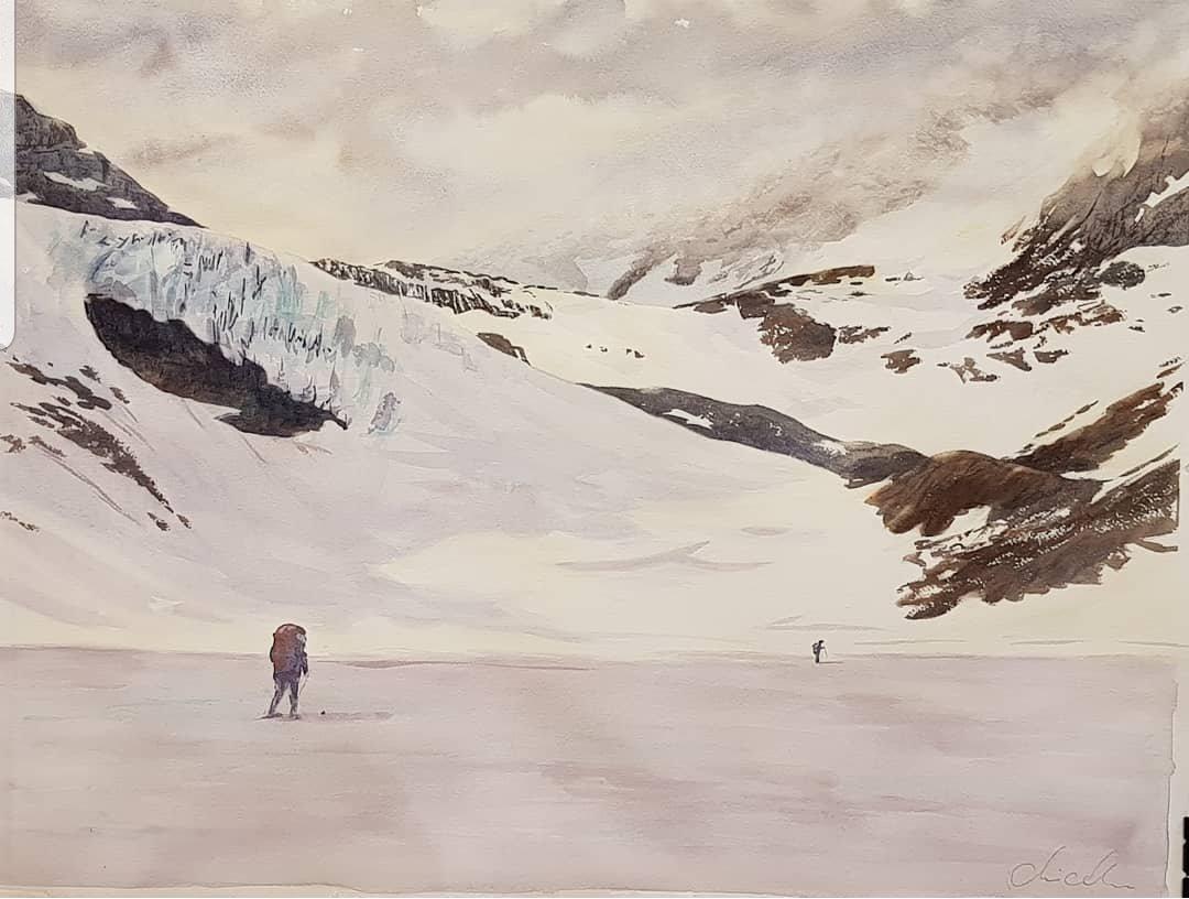 Akvarell förestållande fjällandskap och två skidåkare med ryggsäck