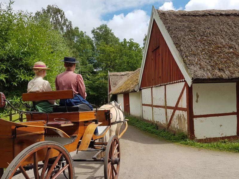 Gamla lador med halmtak och en fjording som drar en fin vagn. Två kvinnor i hatt och blusar med puffärmar sitter på kuskocken.
